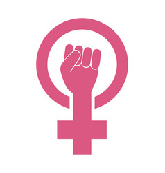 female woman feminism protest hand icon vector image