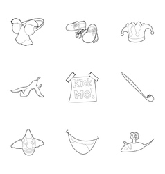 First of April icons set outline style vector