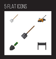 Flat icon garden set of barbecue hay fork shovel vector