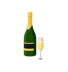 flat icon of glass and bottle of champagne vector image