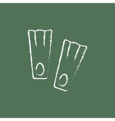 Flippers icon drawn in chalk vector