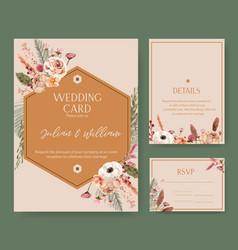 Floral wine wedding card design with rowan vector