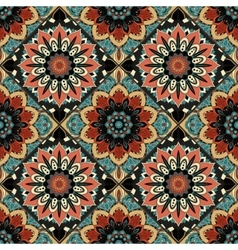 Flower Pattern Boho Brown Blue vector