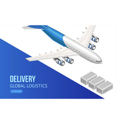 Flying airplane for global logistics webpage vector
