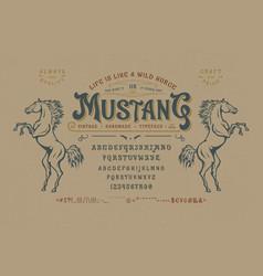 font mustang vintage typeface design vector image