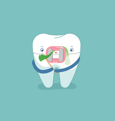 food stuck in brace tooth dental concept design vector image