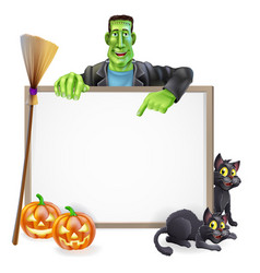 frankenstein halloween sign vector image