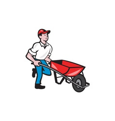 Gardener Pushing Wheelbarrow Cartoon vector image
