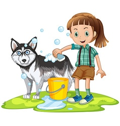 Girl giving bath to pet dog vector