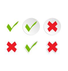 Green checkmark and cross mark icon collection vector