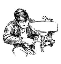 Hand sketch plumber vector