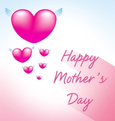 happy mothers day greeting card with heart pink 3 vector image