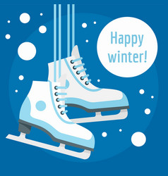 Happy winter ice skate concept background flat vector