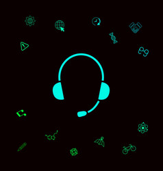 Headphones with microphone icon graphic elements vector