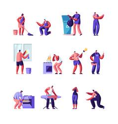 Householders characters cleaning home repair vector
