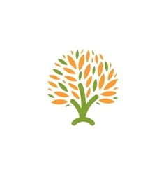 Isolated abstract green orange color tree logo vector