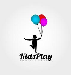 Kids play logo design vector