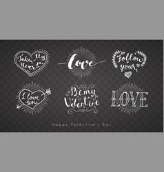Letering romantic valentine set holiday on a vector