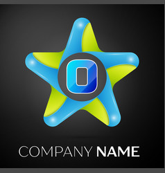 letter o logo symbol in the colorful star on black vector image