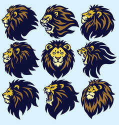 lion head sport logo mascot set premium collection vector image