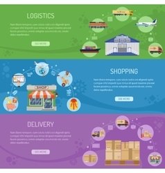 Logistics delivery and shopping Banners vector image