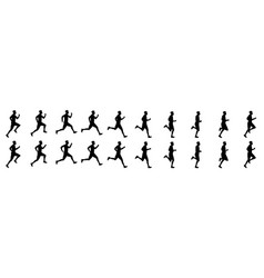 Man run cycle animation sequence silhouette vector