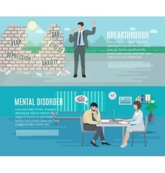 Mental health flat banners set vector image