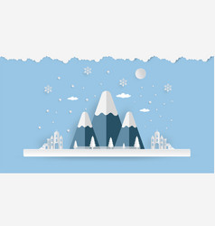 merry christmas and happy new year mountain vector image