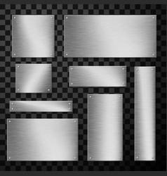 Metal plates plaque wide and narrow realistic set vector