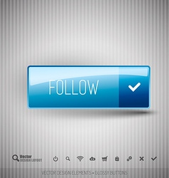 Modern button FOLLOW with icons set vector image