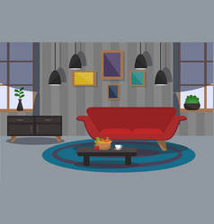 Modern interior of the living room vector