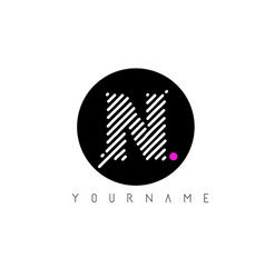 n letter logo design with white lines and black vector image