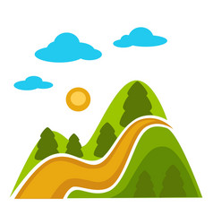 natural landscape with high mountains and vector image