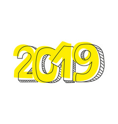 new year 2019 hand drawn sign or doodle number vector image