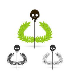olive branch with skull symbol of greek god hades vector image