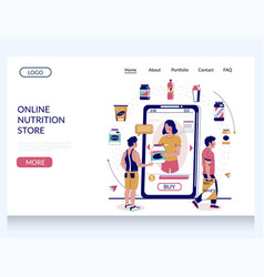 Online nutrition store website landing page vector