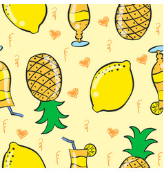 Pattern drink and fruit art vector