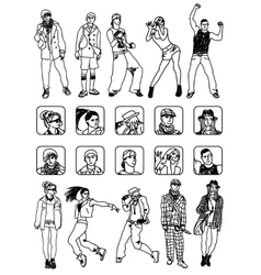 People set icons and figures Monochrome vector