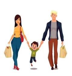 Pretty family with packages from shop vector