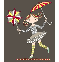 Pretty girl acrobat walking a tightrope vector
