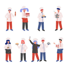 professional chef characters collection male and vector image