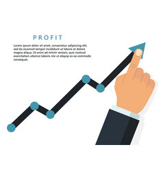 Profit growing business concept finger up holding vector