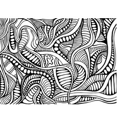 psychedelic abstract doodle style black and white vector image