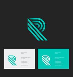 R letter monogram green lines identity vector