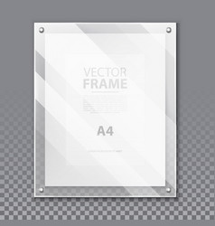 realistic glassware 3d frame for photo a4 picture vector image