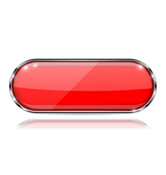Red glass 3d button with metal frame oval shape vector
