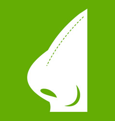 rhinoplasty of nose icon green vector image