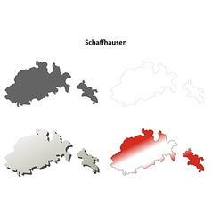 Schaffhausen blank detailed outline map set vector