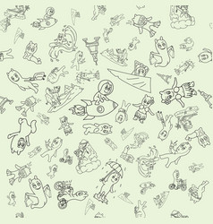Seamless 4 pattern contour of funny doodle little vector