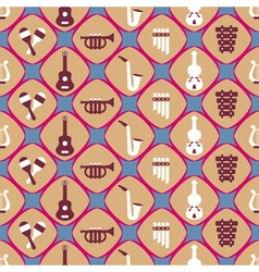 seamless background with musical instruments vector image vector image
